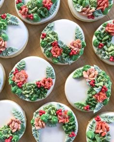 """Wilton Cake Decorating: """"These beautiful cookies decorated with succulents by @bakedonbrighton show you what a couple leaf…"""""""