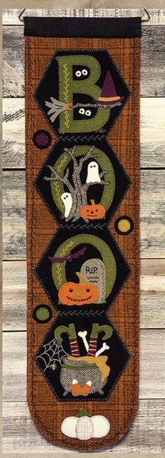 Primitive Wool Applique Pattern October Hexi Door Greeter