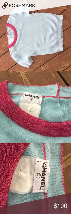 """Chanel cashmere cropped sweater Size 4.   Really cute, powder-blue, softest cashmere sweater, authentic Chanel.  Has tiny sparkles throughout.   Raspberry iridescent collar, matching logo button in back.  Price lowered for minor wear throughout with mild pre-piling, otherwise great vintage condition. Just dry cleaned    Adorable!  Measures 15"""" armpit to armpit, 16"""" length. CHANEL Sweaters Crew & Scoop Necks"""