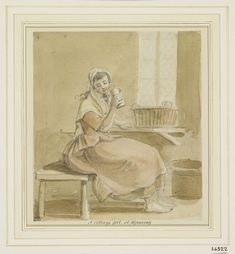 A cottage girl, at Wynnstay circa 1780 18th Century, Barefoot, Followers, Cottage, Painting, Art, Craft Art, Casa De Campo, Cottages