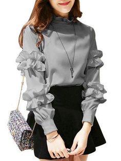 Buy Women's T Shirt Ruffle Solid Breathable Comfy Stylish Fashion Top & T-shirts - at Jolly Chic Look Fashion, Hijab Fashion, Korean Fashion, Fashion Models, Fashion Dresses, Teen Fashion Outfits, Cheap Fashion, Runway Fashion, Fashion Women