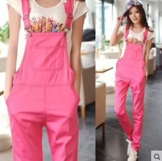 Hot College Fashion Womens Girls Loose Casual Candy Color Overall Pants Trousers