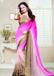 Wedding Wear Pink Georgette Embroidered Work Saree