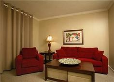 SF - 671 TV (2), DVD (2) VCR(2) Stereo Flooring: Tile, Carpet Living room & Bedroom, Gold tone drapes L/R: Crimson Red sleeper sofa w/matching chair, dark wood furnishings D/R: Dark wood glasstop tabl...