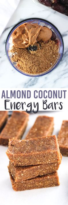 These five-ingredient Almond Coconut Energy Bars are dense and chewy with a consistency like a Larabar. Great almond and coconut flavor and vegan. All clean eating ingredients are used for these healthy energy bars. Pin now for later.