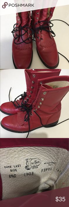 Vintage Justin Boots Red leather combat roper lace up rider boots. Minor scuffs. Justin Boots Shoes Lace Up Boots