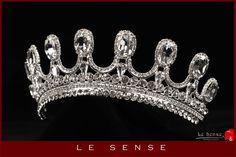 Unique handmade princess crown, tiara, wedding tiaras, crystal silver tiara for order inlaid with SWAROVSKI Crystals and rhinestones, by Lesense on Etsy