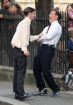 Tom Hardy  and Paul Anderson  on the set of Legend