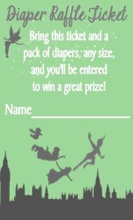 Peter Pan Baby Shower Diaper Raffle Ticket Card by DannisCuteCreations