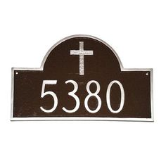 Montague Metal Products Classic Arch with Rugged Cross Address Plaque Finish: Taupe / White, Mounting: Lawn