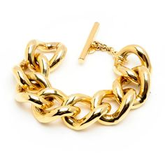 Ben Amun Large Gold Chain Link Bracelet ($170) ❤ liked on Polyvore featuring jewelry, bracelets, accessories, pulseiras, bracciali, gold, chain link jewelry, 24k gold jewelry, 24k jewelry and 24k gold jewellery