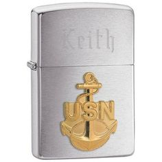 Navy Anchor Emblem Zippo Lighter with Engraving