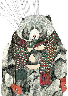 Julia pott (uk) pott art and illustration фото график Art And Illustration, Animal Illustrations, London Illustration, Fashion Illustrations, Art D'ours, Urso Bear, Arte Sketchbook, Bear Print, Inspiration Art