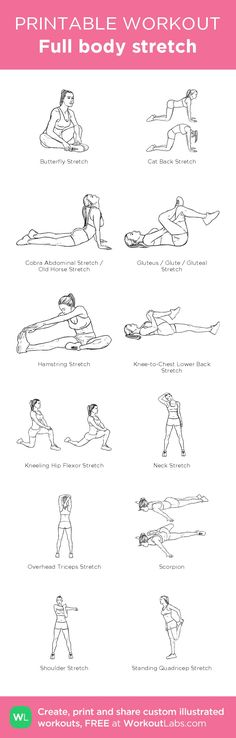 Full body stretch created at WorkoutLabs.com • Click through on mobile or customize and save as PDF at workoutlabs.com/... #mobileworkout #customworkout