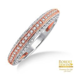 Robert Irwin Jewelers - 21616FVWPWB - 1/4 Ctw Round Cut Diamond Wedding Band in 14K White and Rose/Pink Gold, $760.00 (http://www.rijewelers.com/21616fvwpwb-1-4-ctw-round-cut-diamond-wedding-band-in-14k-white-and-rose-pink-gold/)