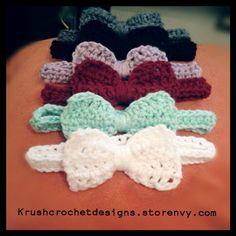 Incredi-bows! Crochet baby headbands. #crochet #babyheadbands. I need to learn how to crochet.