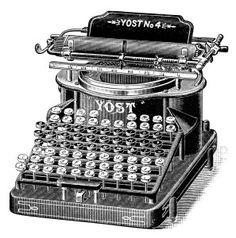 Antique Yost Typewriter ~ Free Digital Clip Art Image