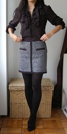 Black and White tweed skirt with ruffled top. Cute for a pageant appearance… - - Black and White tweed skirt with ruffled top. Cute for a pageant appearance… Office Fashion, Work Fashion, Fashion Clothes, Fashion Fashion, Street Fashion, Moda Petite, Cute Office Outfits, Everyday Outfits, Looks Style