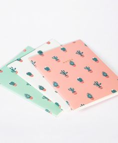 This stitch binding notebook set includes 3 beautifully illustrated notebooks in different colors - pink, turquoise, and white. The notebook features a textured soft cover and 60 lined pages for writi
