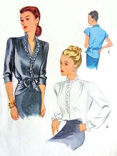 1940s Beautiful Peplum Blouse Pattern McCall 6337 Film Noir Style OverBlouse With Front Tie Peplum or Tuck In Blouse Bust 34 Vintage Sewing Pattern