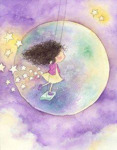 Illustration Mignonne, Art Et Illustration, Little Girl Illustrations, Vintage Illustrations, Art Fantaisiste, Art Mignon, Moon Art, Whimsical Art, Cute Drawings