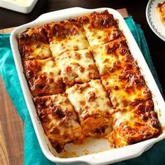 Make-Ahead Lasagna Recipe -This is an old standby when time's limited and guests are expected for dinner. It's a combination of several easy lasagna recipes I have tried over the years. —Mary Grimm, W (Lasagna Recipes) Small Lasagna Recipe, Taste Of Home Lasagna Recipe, Meat Lasagna Recipe No Ricotta, Paula Deen Lasagna Recipe, Spinach Lasagna, Casserole Recipes, Pasta Recipes, Beef Recipes, Al Dente