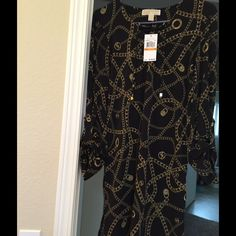 MK Dress NWT size S Sweet Sexy MK dress Black and gold chain with signature. Size S Michael Kors Dresses Midi