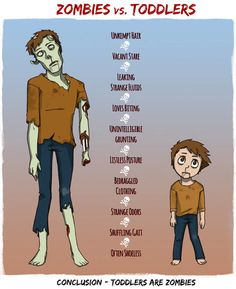 Zombies vs. toddlers…This is hilarious for many reasons! I was saying the other day on the playground the children were looking at us and moving like zombies!!