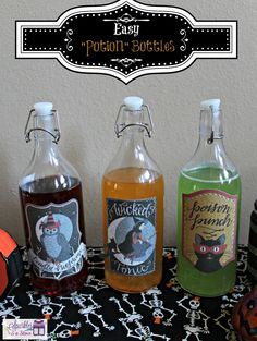 Create Halloween potion bottles using KORKEN bottles @Kathy Penney !
