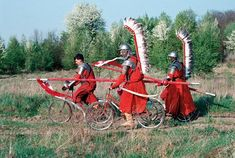 With Fire and Sword, and bicycles. Drama Film, On Set, Warfare, Bicycles, Poland, Tanks, Sword, Warriors, Behind The Scenes