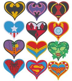 24 comic character hearts machine embroidery by StringTheoryFabArt