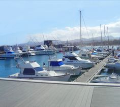 Boats berthed at the local marina in Caleta de Fuste