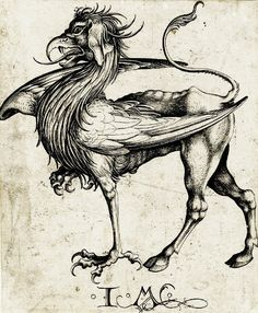 Thauroth's Hunting Grifon - A Monster For Your Old School Space Opera by Israhel van Meckenem in the style of c.1465.