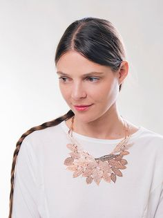 Rose gold necklace, leaf necklace, 24 karat rose gold plated, nature jewelry #inbarshahak #textileart #artjewelry #contemporaryartjewelry