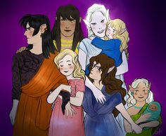 House of Finwë; 1st row: Fëanor, Finwë, Indis, and Finarfin 2nd row: Findis, Fingolfin, and Irimë