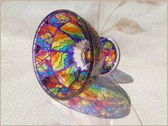 Glass DESSERT VASE   gift, pedestal bowl, candle holder, dinnerware, salad, decor   stained, hand painted, vitrage  rainbow   OOAK