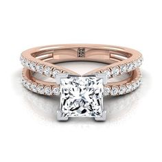 Princess Cut Diamond Engagement Ring With Pave Split Shank In 14k Rose Gold (1/3 Ct.tw.) #princesscutring