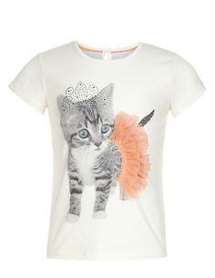 Cat Print Tutu T-Shirt Clothing