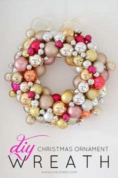 Christmas DIY: How to make a Christ How to make a Christmas Ornament Wreath for less than $10! #christmasdiy #christmas #diy