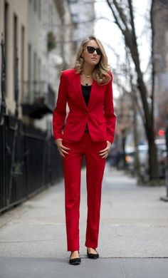 red suit with straight leg pants