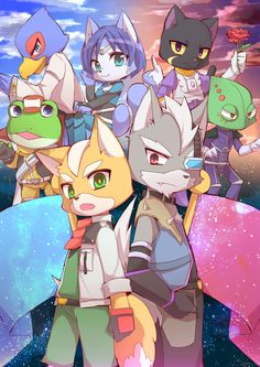 Team Starfox and Starwolf Cute Cartoon Animals, Cartoon Games, Super Smash Bros, Fox Mccloud, Sci Fi Anime, Nintendo World, Star Fox, Love Games, Fox Art