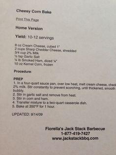 Fiorella's Jack Stack barbecue cheesy corn bake Corn Recipes, Copycat Recipes, Yummy Recipes, Dinner Recipes, Jack Stack Cheesy Corn Recipe, Smoker Recipes, Cooking Recipes, Baked Corn, Peppermint Cookies
