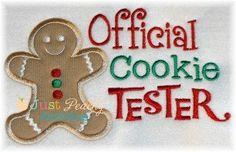 Gingerbread Boy Cookie Tester Applique Frame by JustPeachyApplique
