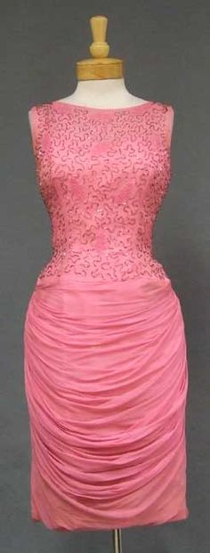 """Cocktail Dress, """"An Original Mr. Frank New York."""": ca. 1960's, silk chiffon, beaded, attached spaghetti strapped liner."""