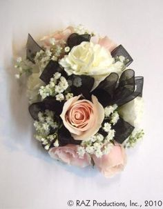 wrist corsage for homecoming for black dress | Wrist corsage featuring light pink spray roses, white miniature ...