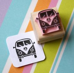 Hand carved rubber stamp of a mini camper van design by Skull and Cross Buns. €5.33