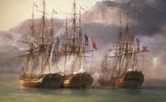 The French squadron at Grand Port. From left to right: Bellone, Minerve, Victor (background) and Ceylon, detail from Combat de Grand Port, by Pierre-Julien Gilbert Sailboat Art, Nautical Art, Mountains In India, Mauritius Island, Under The Shadow, Man Of War, Ship Art, Boat Plans, Model Ships