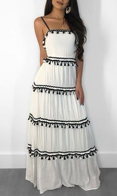 Too Early White Sleeveless Spaghetti Strap Square Neck Pleated Tassel Casual Maxi Dress Source by letitbeeee maxi Mode Outfits, Chic Outfits, Dress Outfits, Summer Outfits, Dress Summer, Summer Clothes, Dress Shoes, Long Summer Dresses, Dress Long