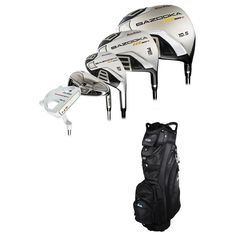 Tour Edge Golf HT-MAX D Complete Set With Cart Bag Graphite/Steel Uniflex The Tour Edge Golf HT-MAX D Complete Set With Cart Bag delivers more bang for your buck. Included is just about everything you'll need for your next trip out to the greens like a driver, 2 fairways, 2 hybrids, 6 irons, a putter, plus a cart bag and 6 protective head covers. The driver is super lightweight and more aerodynamic to provide higher swing speeds, while the fairway wood delivers more distance and remarkable…