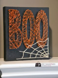 String art, Hallowe'en, Boo, Halloweendecor. Easy craft that the kids can make too!